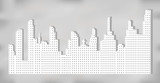 White silhouette of city landscape with skyscrapers and towers, shadow on gray background. Vector illustration.