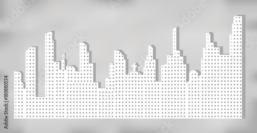 Fridge magnet White silhouette of city landscape with skyscrapers and towers, shadow on gray background. Vector illustration.