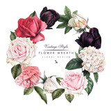 Wreath of roses, watercolor, can be used as greeting card, invitation card for wedding, birthday and other holiday and  summer background. Vector illustration. - 180890344
