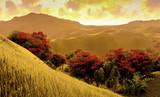 Green fields landscape 3d rendering