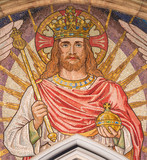 LONDON, GREAT BRITAIN - SEPTEMBER 19, 2017: The mosaic of Jesus the King in church St Stephen's Rochester Row by Angela Tennant (1904). - 180895360