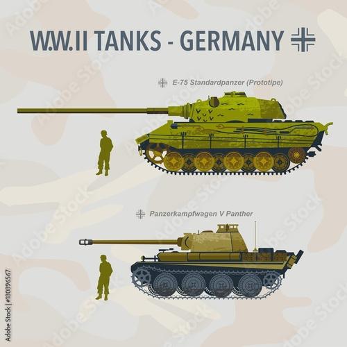 Wojskowy czołg płaskie wektorowej niemieckiej II wojny światowej. pojazd w profilu