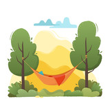 Summer hammock with trees in forest and garden, mountains and clouds. - 180896776