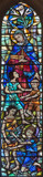 LONDON, GREAT BRITAIN - SEPTEMBER 19, 2017: The Virgin Mary and the children on the stained glass in chapel of St Mary Abbot's church on Kensington High Street  designed by Alfred R. Fisher (1966). - 180896940