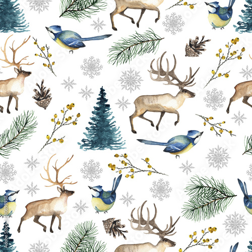 Cotton fabric Seamless Christmas pattern with birds, deer, tree, snowflakes, branches. Watercolor hand drawn