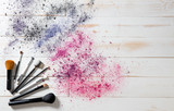 Wallpaper for professional makeup and fashion brushes and colorful pigments - 180901537