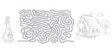 Maze game, coloring page for kids with pictures of Little Red Riding Hood and house.  - 180902349