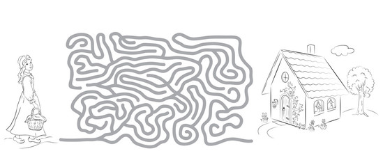 Maze game, coloring page for kids with pictures of Little Red Riding Hood and house.