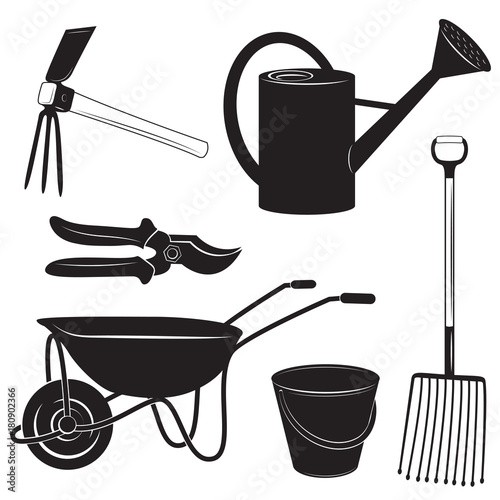 Black and white illustrations of garden tools: garden cutter, potato fork, bucket, watering can and wheelbarrow.