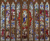 LONDON, GREAT BRITAIN - SEPTEMBER 18, 2017: The main stained glass in sanctuary of church Immaculate Conception, Farm Street with the Madonna and patriarchs and kings of Israel (1912). - 180902972