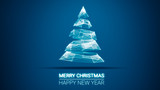 modern future christmas tree and Merry Christmas and Happy New Year greetings message on blue background.Elegant holiday season social digital card for technology, futuristic business - 180905380