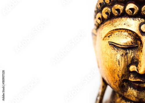 Fotobehang Boeddha head of golden buddha statue on white background