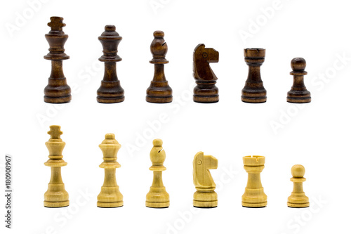 Poster Wooden chess set lined up in rows isolated