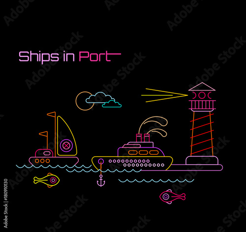 Foto op Canvas Abstractie Art Ships in Port vector illustration