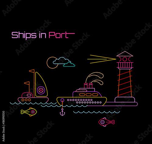Papiers peints Art abstrait Ships in Port vector illustration