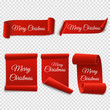 Merry Christmas red paper banner. Set of Xmas stickers isolated. Vector