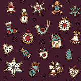 Christmas seamless pattern with Gingerbreads. Holiday pattern with Christmas icons. Holiday background.
