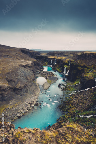 Canyon With Waterfalls In Iceland - 180914975