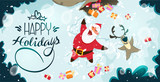 Happy Santa Claus and reindeer making a Snow Angel. Cute Christmas characters for Holiday design. Christmas Greeting Card for invitation, congratulation. Vector illustration - 180920349