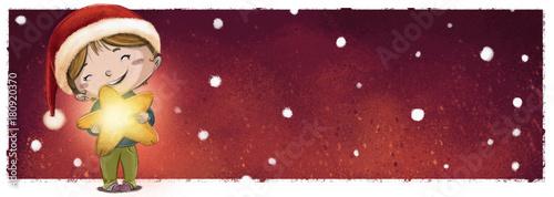 niña con estrella en navidad nevando