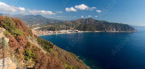 Fotobehang Liguria Panoramic view of the Riviera di Levante, in Liguria; the small town along the coastline is Riva Trigoso