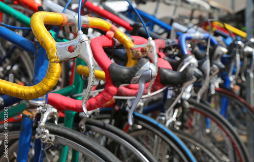 Papiers peints Amsterdam many vintage bikes for sale on the market of used things in Euro