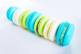 Sweet and colorful french macaroons or macaron on white backgrou - 180926324