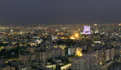 View of Amman mountains at night