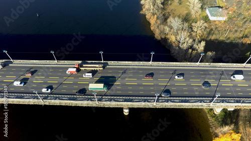 Foto op Plexiglas Kiev aerial view of Paton bridge in Kiev, Ukraine