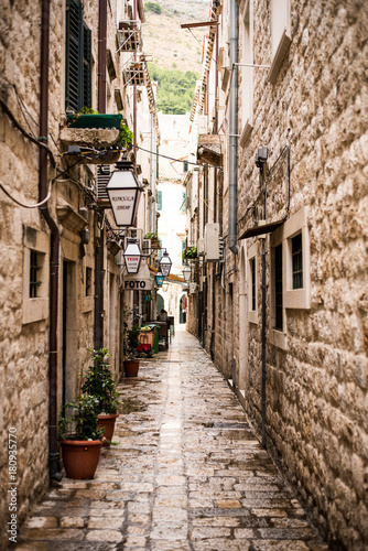 Tuinposter Smal steegje Classic alley and stone street in Dubrovnik Old Town in Croatia, Europe