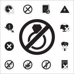 Stop or ban marriage, prohibited sign icon. Set of prohibition icons