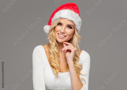 Plakát Beautiful cute blond model wear santa hat