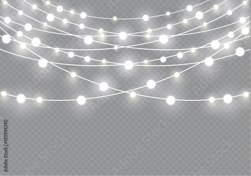 christmas lights isolated on transparent background xmas glowing garlandvector illustration