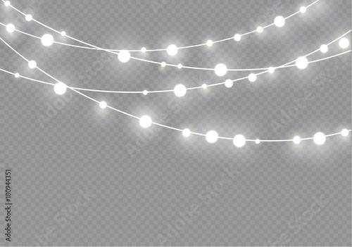 christmas lights isolated on transparent background xmas glowing garlandvector illustration