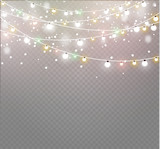 Christmas lights isolated on transparent background. Xmas glowing garland.Vector illustration - 180944559