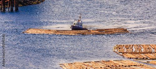 Papiers peints Canada Tug Pushing Log Raft