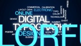 Digital typography animated word cloud, text design animation. - 180947534