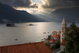 Amazing views of old town with church and house. Beautiful sky. Perast to Montenegro