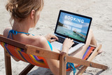 travel booking concept, tours, hotels and tickets online reservation - 180951158