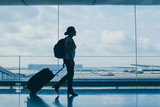 departures in airport, silhouette of woman walking with suitcase, travel background with copy space - 180951792