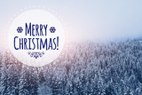 merry christmas card in winter snowy forest background - 180951798