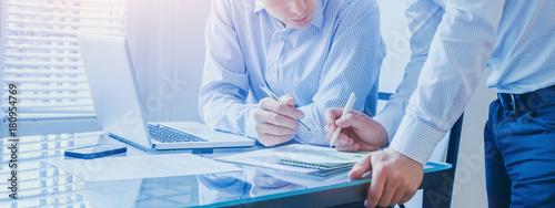 Leinwandbild Motiv business team working together in the office, teamwork background banner