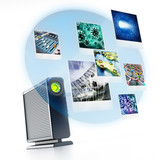 External hard drive with projected photos. 3D illustration - 180957188