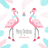Christmas card with flamingo. Vector illustration