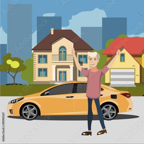 Fotobehang Auto Happy man standing near car