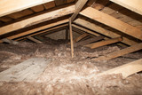 mineral wool in the attic of the house Foam plastic Insulation of a new home on a new roof - 180963530