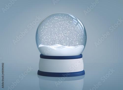 Fototapeta Christmas snow globe on blue background