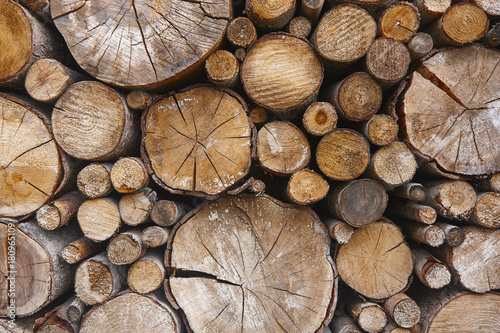 Stacked tree trunks detail. Finland lumber industry. Nature background - 180965109