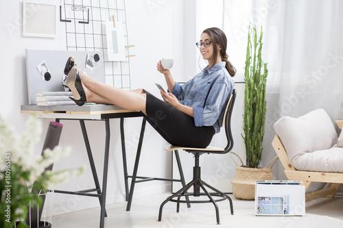 Lady during break