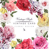 Greeting card with roses and Lilac, watercolor, can be used as invitation card for wedding, birthday and other holiday and  summer background. - 180965388